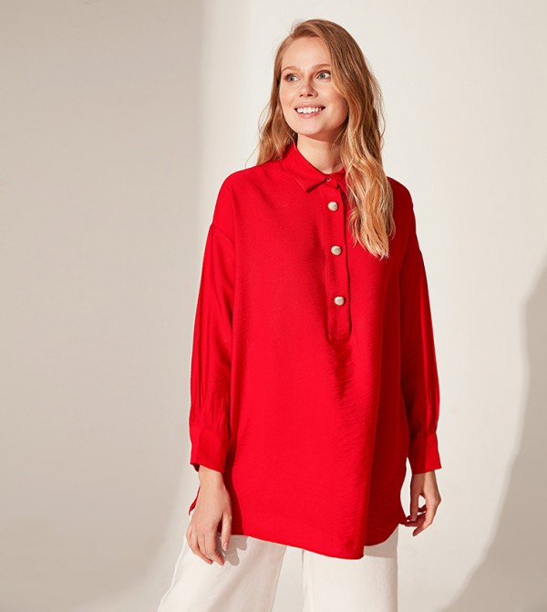 Button Detailed Viscose Tunic-Red