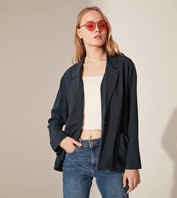 Plain Standard Fit Standard Thin Twill Jacket-Navy