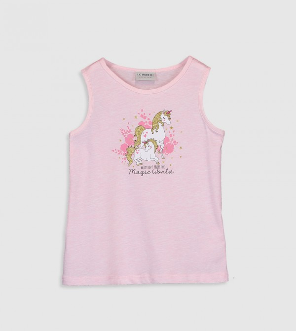 Printed Crew Neck Sleeveless Standard Thin Single Jersey Tank Top-Pink