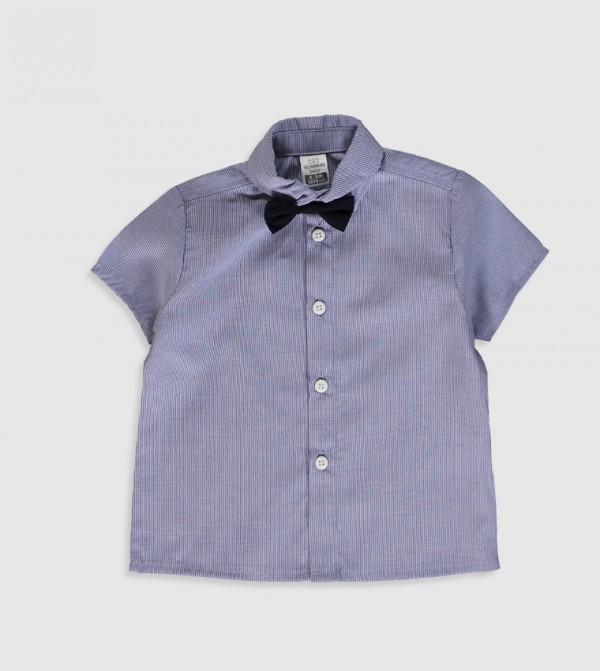 Plain Polo Neck Short Sleeve Medium Thickness Poplin Shirt-Navy
