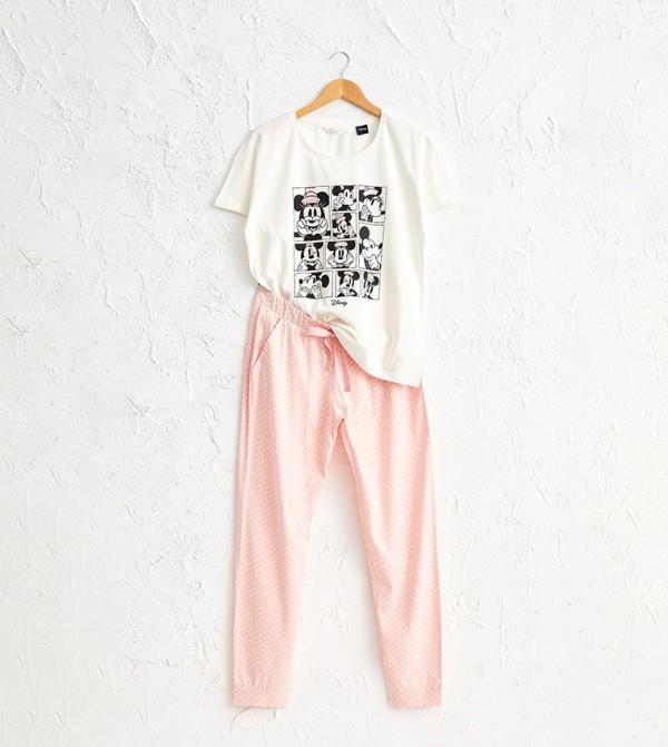 Mickey Minnie Mouse Printed Cotton Pajamas Set-Pink