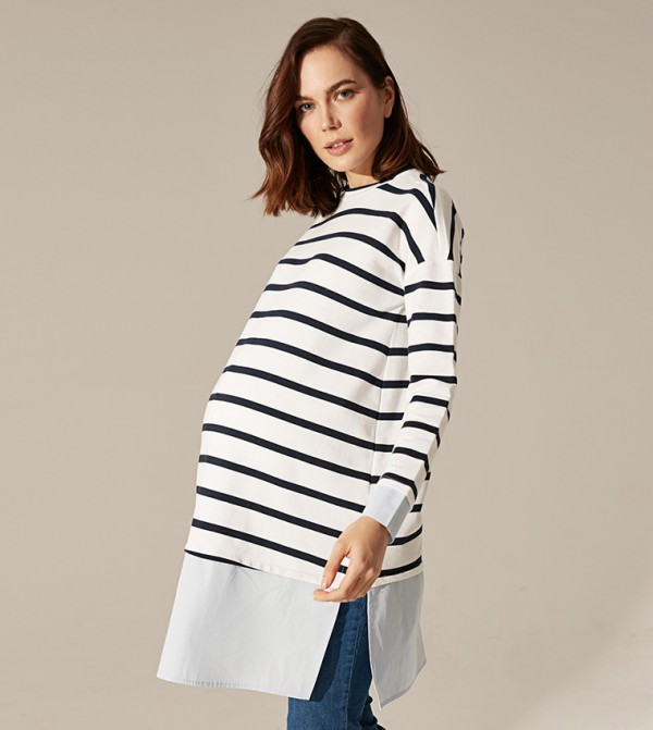 Maternity Striped Crew Neck Long Sleeve Long Medium Thickness A Form Tunic-Navy Striped