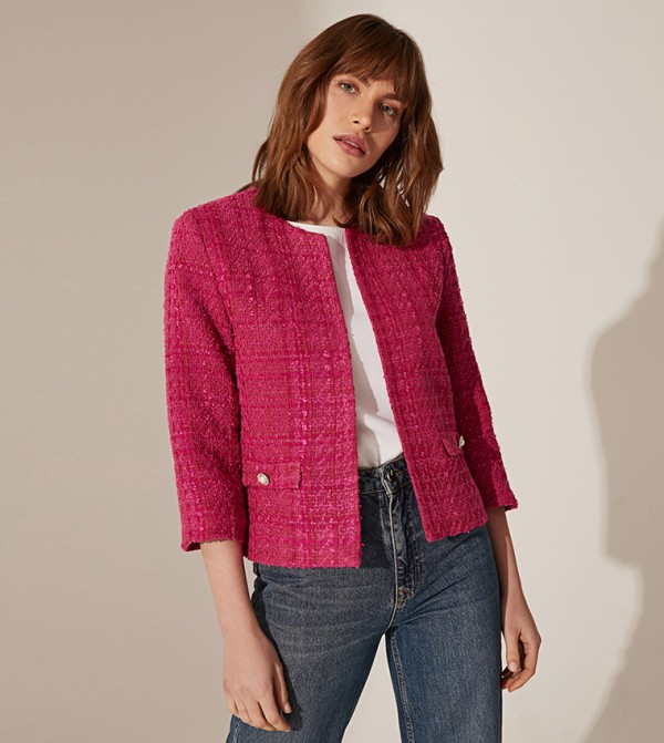 Plain Crew Neck Long Sleeve Standard Fit Standard Thin Tweed Jacket-Fuchsia