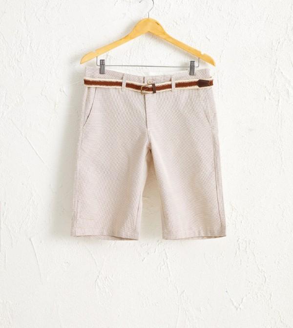 Plain Slim Thin Shorts-Beige
