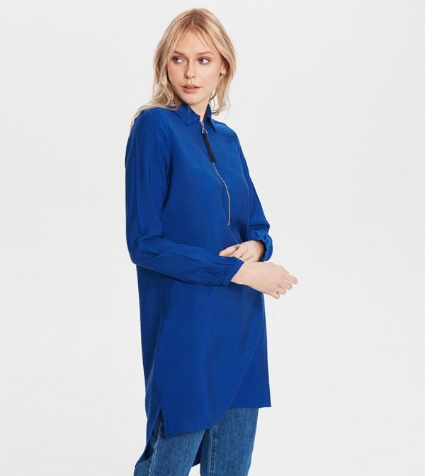 Standard Fit Mid Length Tunic-Indigo