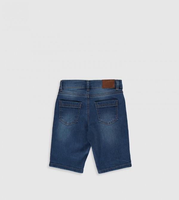 Plain Standard Medium Thickness Jean Shorts-Indigo