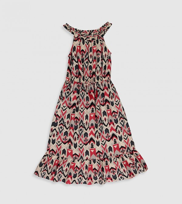 Printed Boat Neck Fitted Waist Crinkle Dress-Red Printed