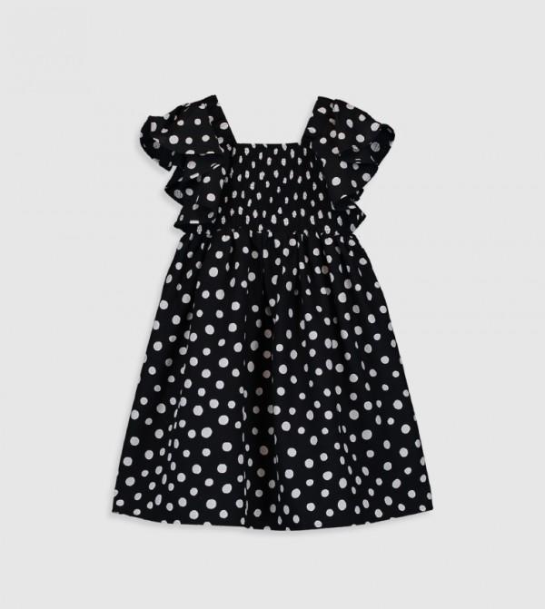 Printed Short Sleeve Mid Length Thin Poplin Dress-Black