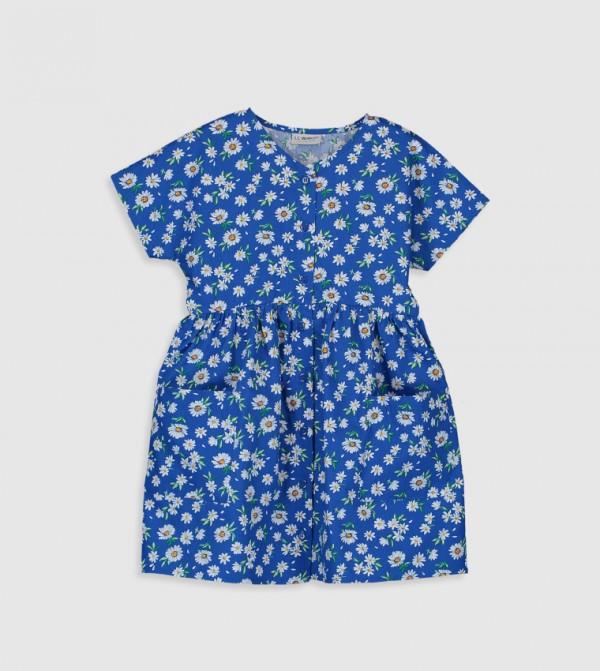 Printed Crew Neck Short Sleeve Thin Poplin Dress-Navy
