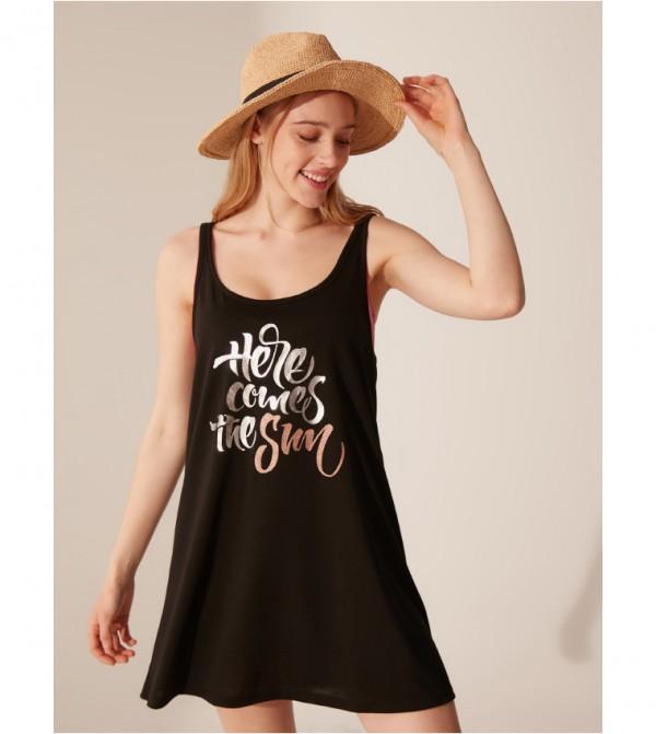 Plain Single Jersey Swimwear Top-Black