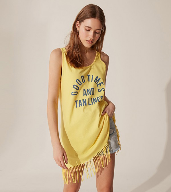 Plain Single Jersey Swimwear Top-Yellow