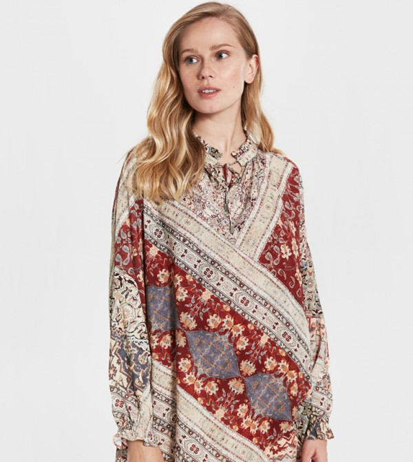 Woven Tunic Long Sleeves - Red Printed