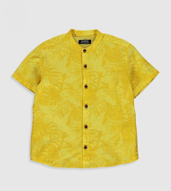 Figured Poplin Shirt-Yellow