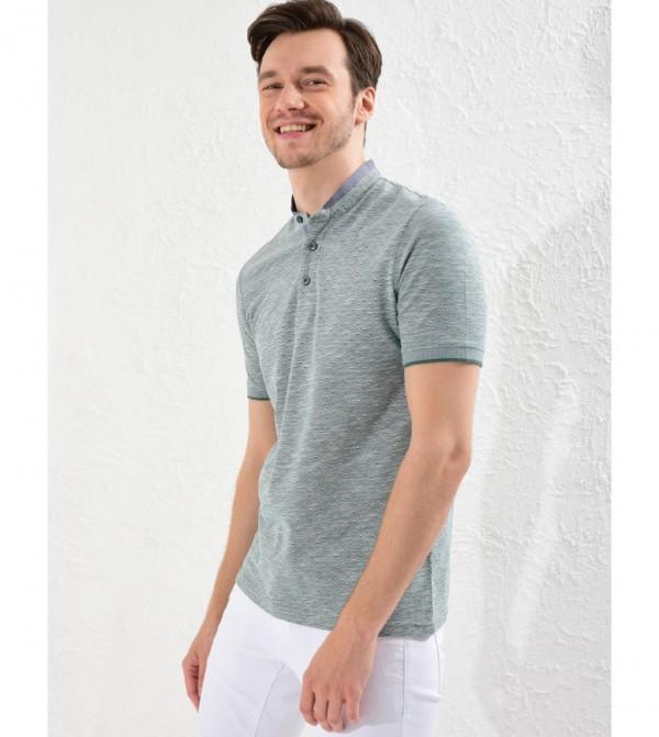 Plain Mandarin Collar Short Sleeve Standard Thin T-Shirt-Green