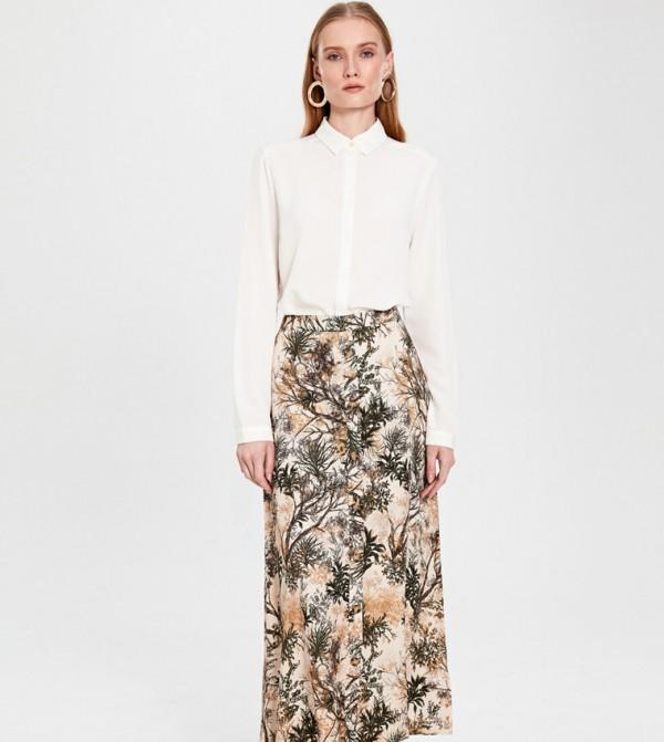 تنورة طويلة منسوجة - مطبعة إكرو