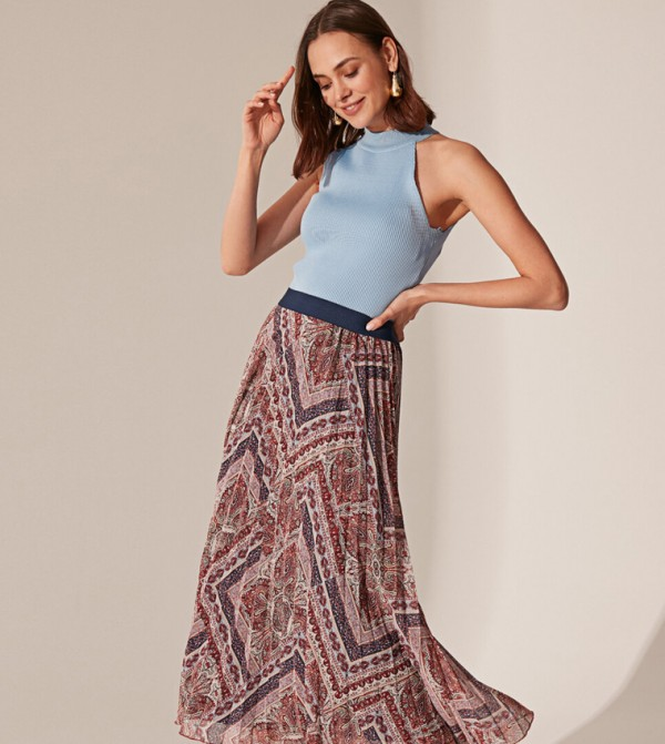 Woven Long Skirt - Red Printed