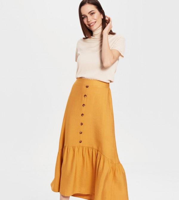Woven Long Skirt - Dark Yellow