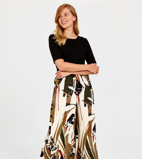 Woven Long Skirt - Green Printed