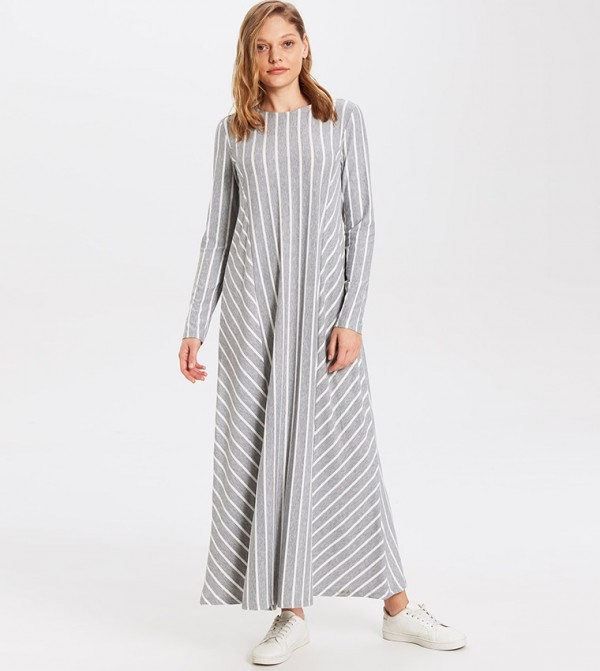 Striped Long Sleeve Standard Fit Long A Form Single Jersey Dress-Grey Striped