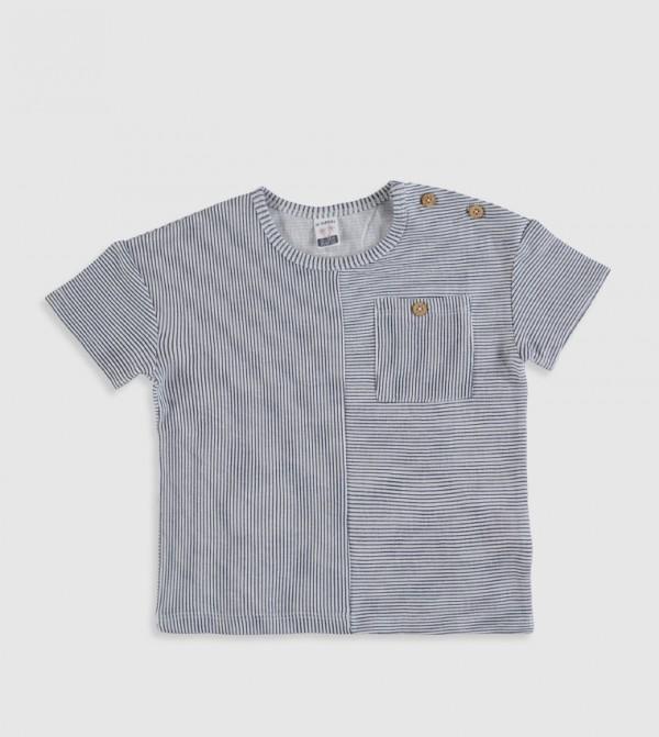 Striped Crew Neck Short Sleeve Standard T-Shirt-Ecru