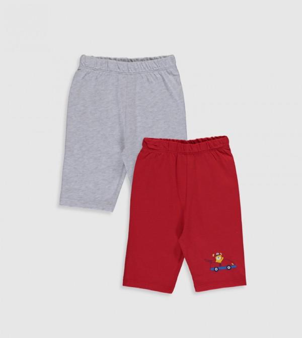 Below Knee Thin Single Jersey Pyjamas Bottom-Red