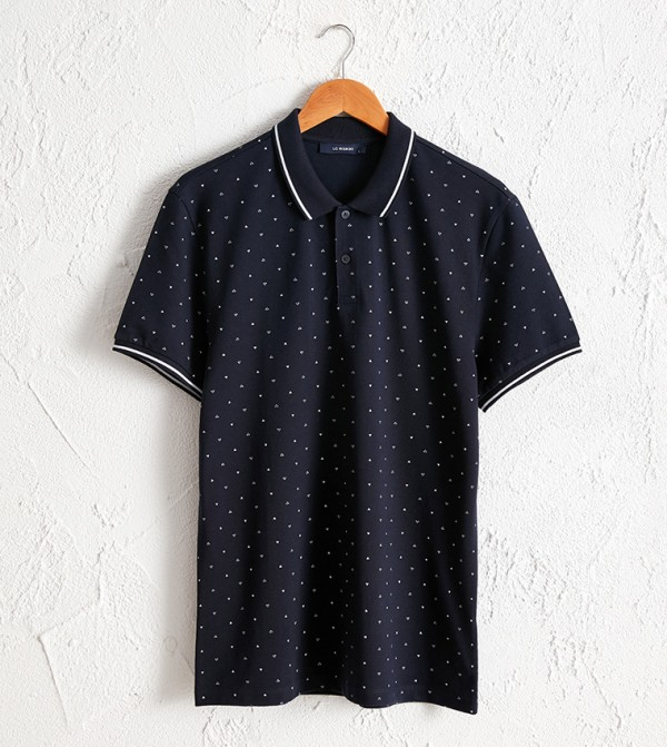 Polo Neck Short Sleeve Pique T-Shirt-Blue