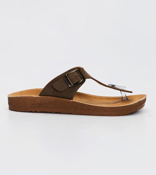 Buckle Detailed Flip-Flops-Brown