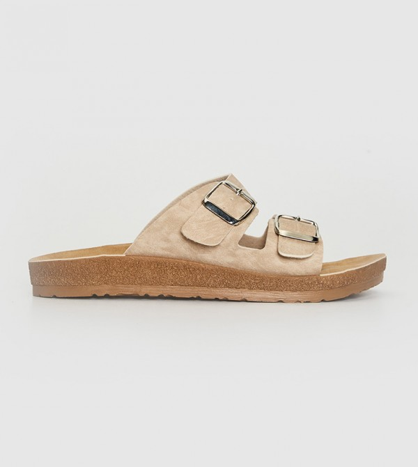 Double-Banded Thick Sole Slippers-Beige