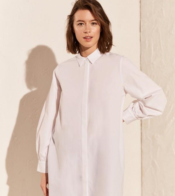 Woven Tunic Long Sleeves - Ecru