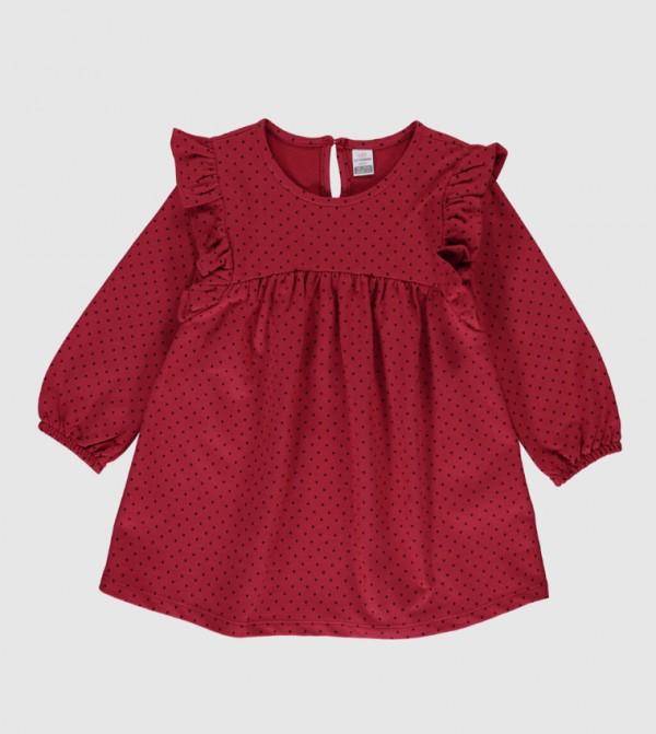 Long Sleeves Jersey Dress - Bordeaux Printed