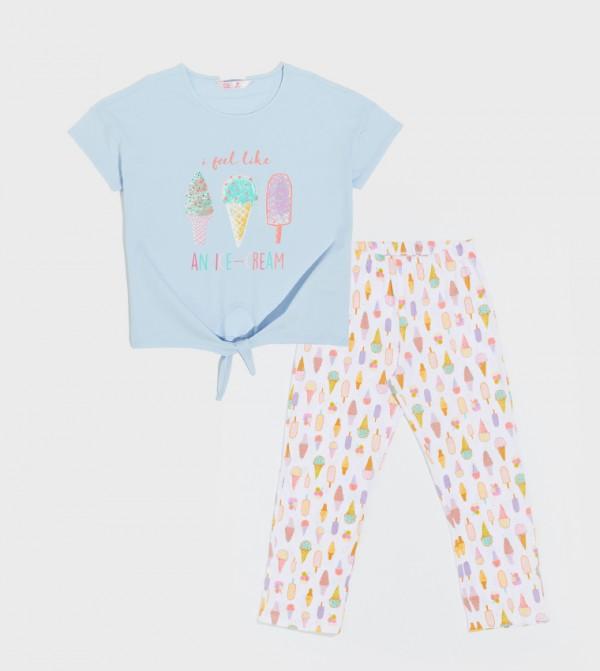 Short Sleeve Standard Thin Single Jersey Pyjamas Set-Blue
