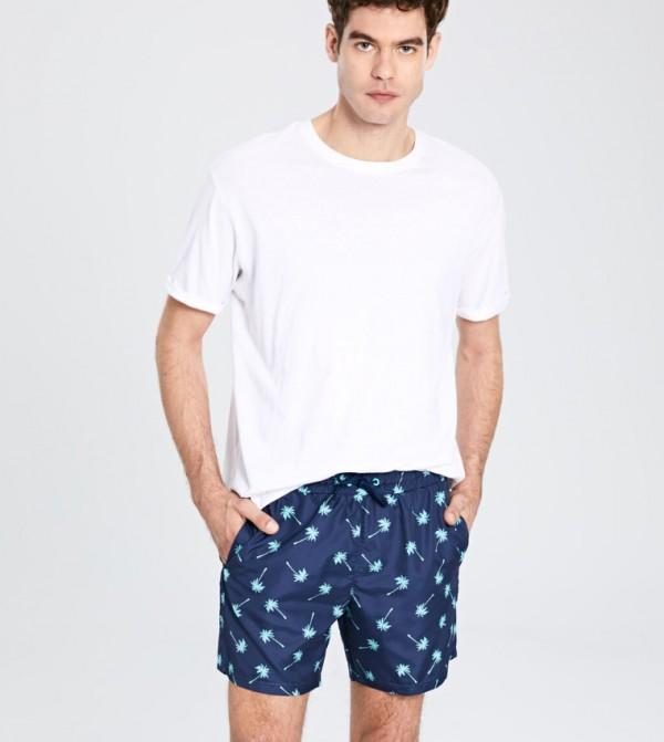 ملابس سباحة منسوجة - كحلي مطبوع