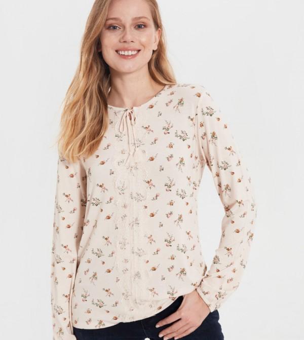 Jersey Body Tshirt Long Sleeves - Beige Printed