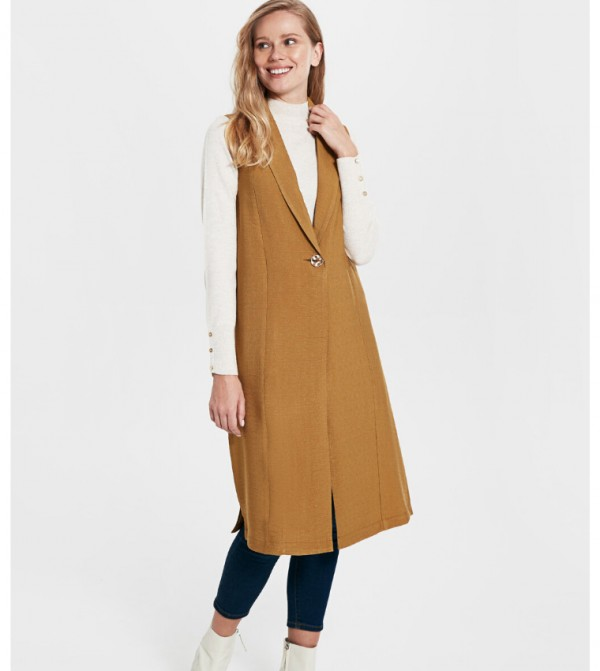 Woven Tunic Long Sleeves - Light Brown