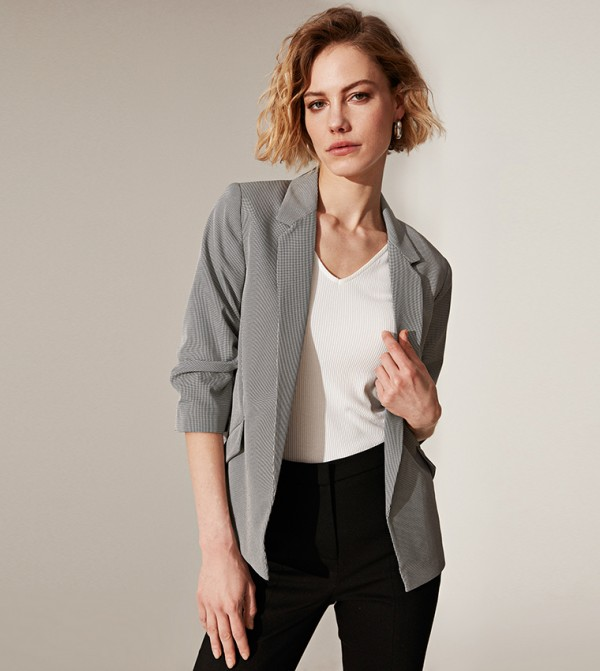 Plaid 3/4 Length Standard Fit Below Hip Thin Blazer-Grey Melange