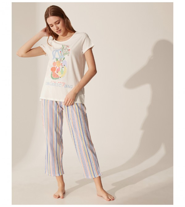 Short Sleeve Standard Thin Single Jersey Pyjamas Set-Ecru