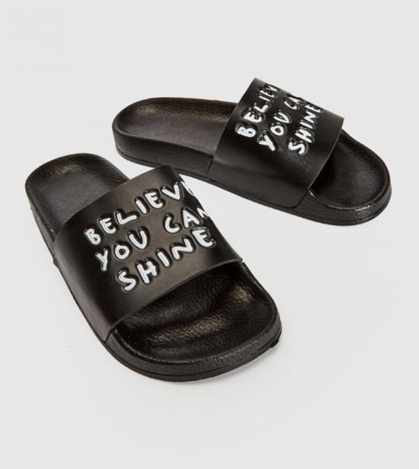 Printed Short Slippers -Black