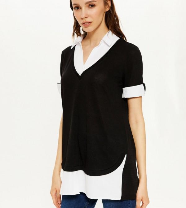 Plain V Neck Short Sleeve Standard Long Single Jersey T-Shirt -Black