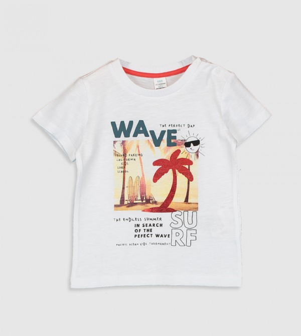 Printed Crew Neck Short Sleeve Standard Thin Single Jersey T-Shirt-White
