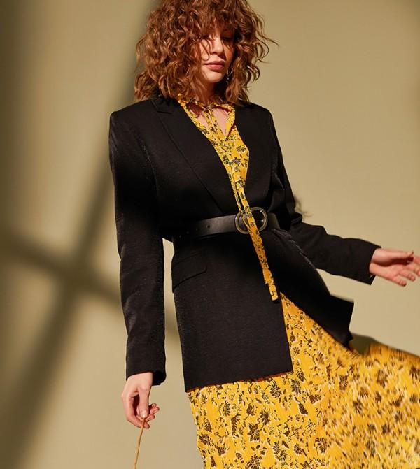 Plain Long Sleeve Loose Fit Below Hip Thin Blazer Linen Look-New Black