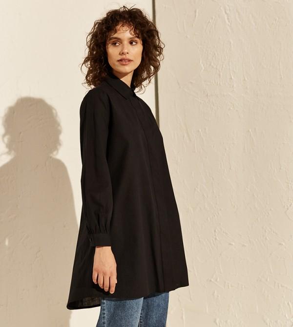 Plain Cotton Tunic-New Black