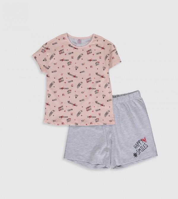 Key Pyjamas Set Short - Light Pink Print