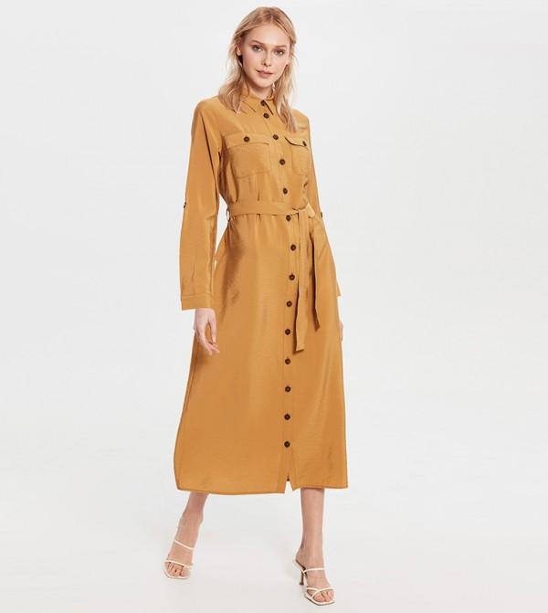 Plain Long Sleeve Standard Fit Long Shirt Dress Poplin Dress-Light Brown
