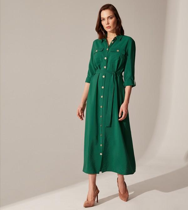 Plain Long Sleeve Standard Fit Long Shirt Dress Poplin Dress-Mid Green