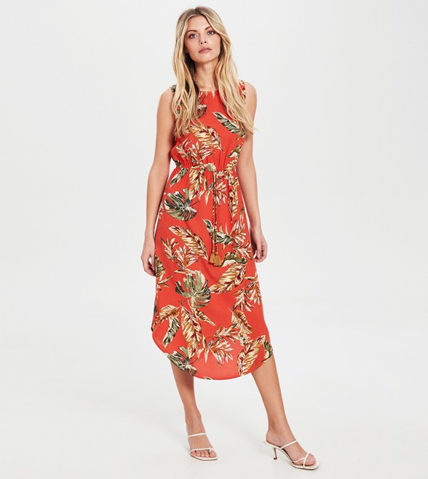 Patterned Asymmetric Viscose Dress-Coral Printed