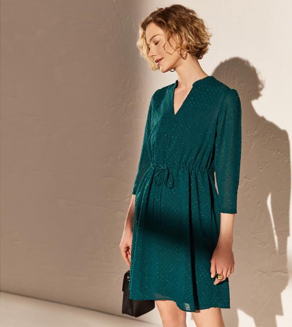 Printed Shirt Collar Short Sleeve Standard Fit Short Front Knot Chiffon Dress-Forest Green
