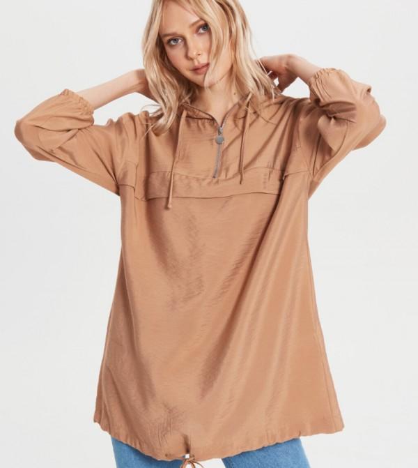 Woven Tunic Long Sleeves - Beige