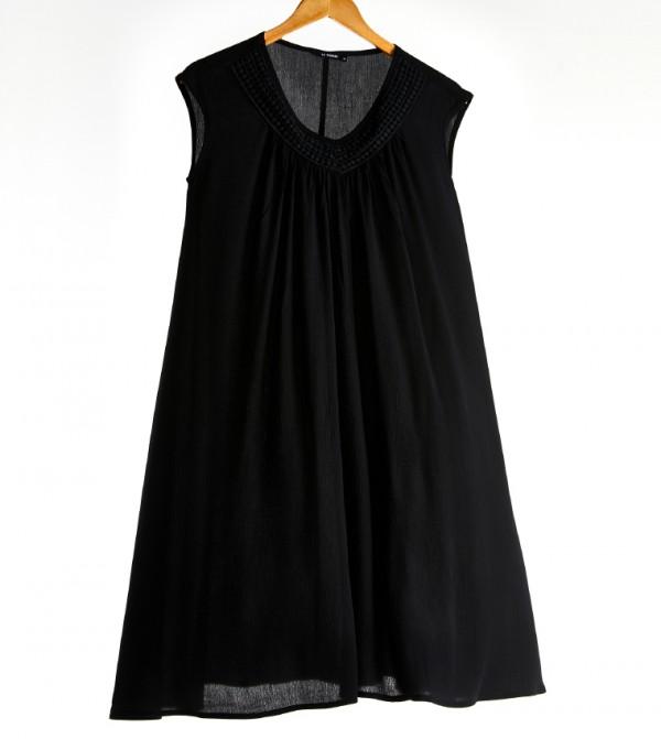 Plain Sleeveless Standard Mid Length Thin A Form Crinkle Dress-Black