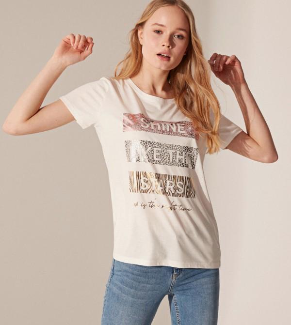 قميص تي شيرت من الجيرسيه باكمام قصيرة- ايكرو