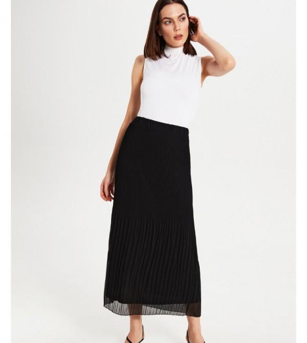 Woven Long Skirt - New Black
